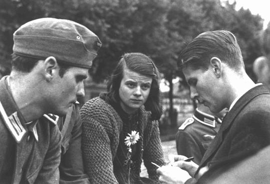 Sophie & Hans Scholl with Christoph Probst 1942.jpg